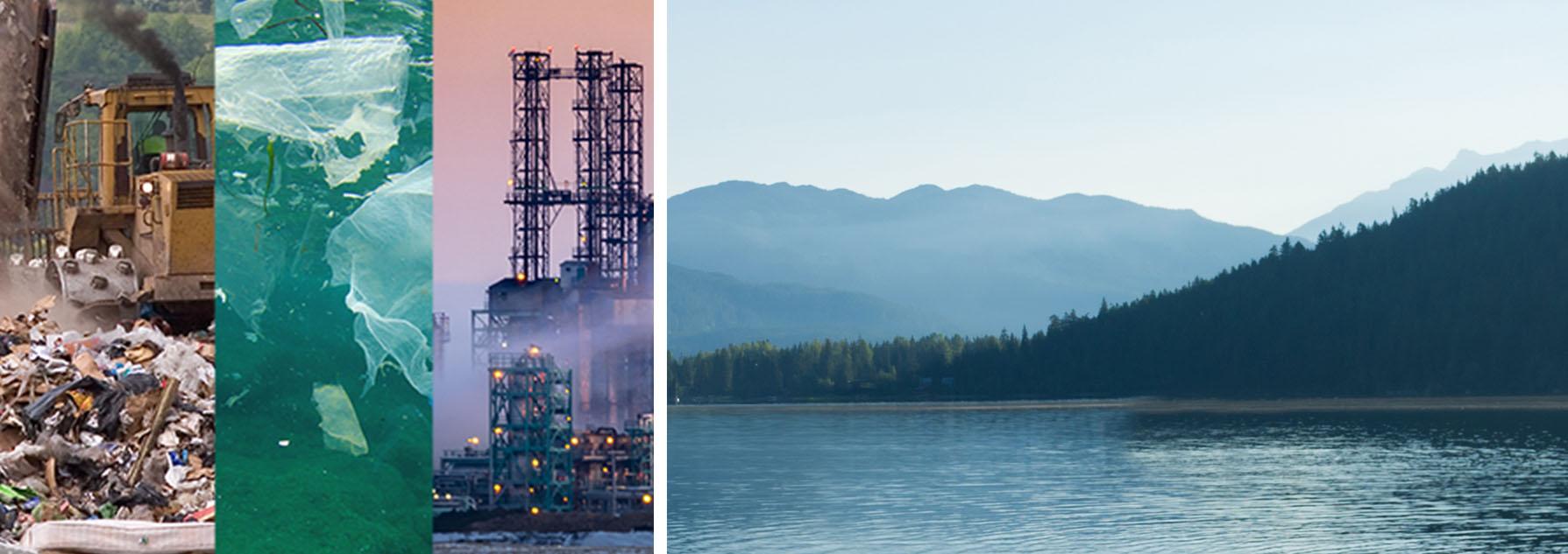Site d'enfouissement, plastique dans l'océan et usine, ainsi qu'un beau paysage d'un lac avec des montagnes