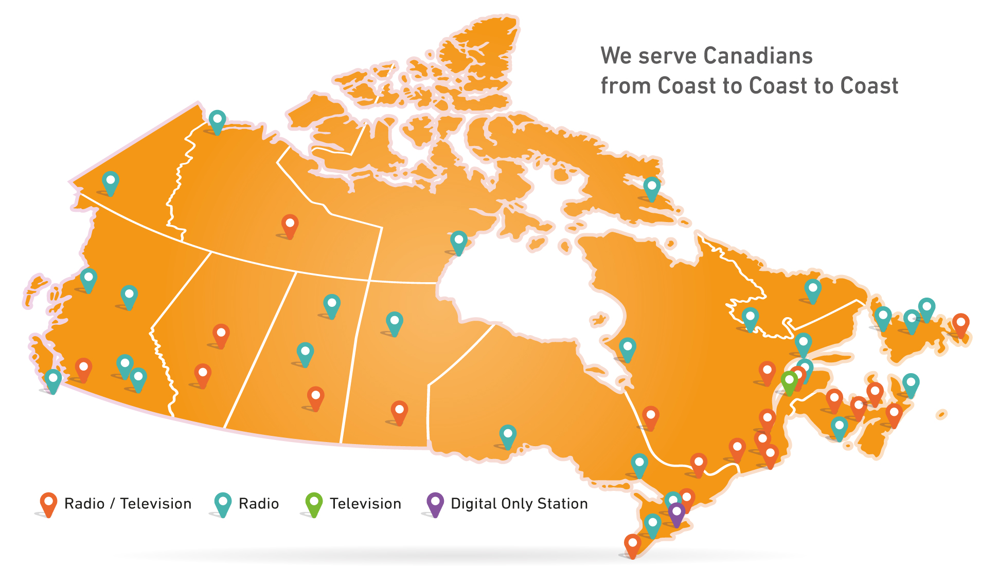 source map of cbc radio canada stations including affiliates september 2016